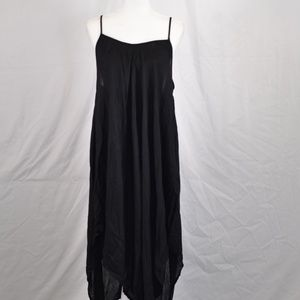 Elan Adjustable Thin Strap Black Maxi Dress (M57A)